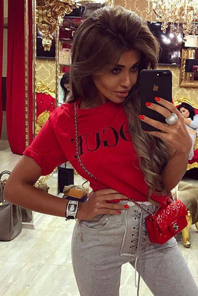 Chicloth  Red White Black Short Sleeve T-shirts Female Vogue Letter Print Top 08