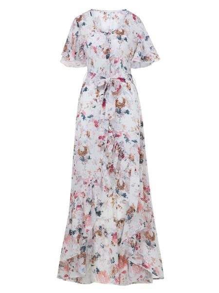 B| Chicloth Beige V-Neck Flower Print Falbala Patchwork Women's Maxi Dress-Maxi Dress-Chicloth