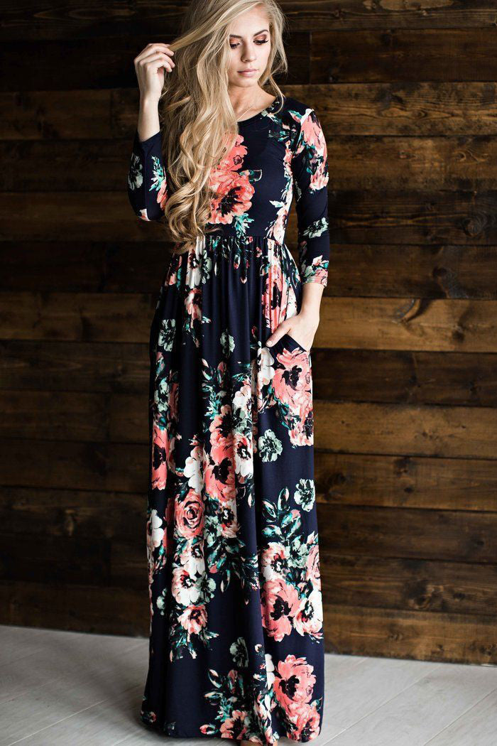 A| Chicloth Round Neck Long Sleeve Floral Super Long Maxi Dress-Maxi Dress-Chicloth