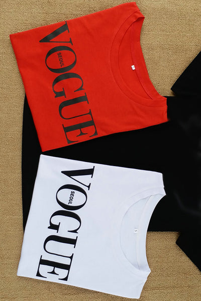 Chicloth  Red White Black Short Sleeve T-shirts Female Vogue Letter Print Top 13
