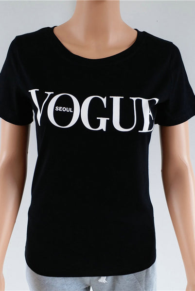 Chicloth  Red White Black Short Sleeve T-shirts Female Vogue Letter Print Top 15