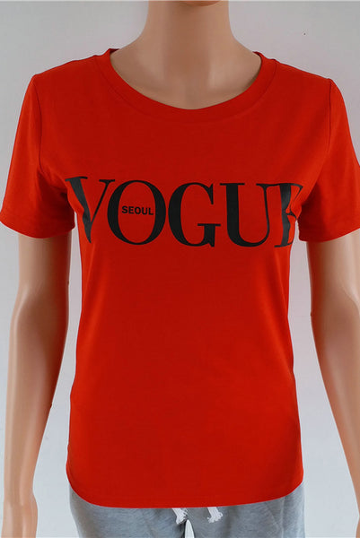 Chicloth  Red White Black Short Sleeve T-shirts Female Vogue Letter Print Top 19