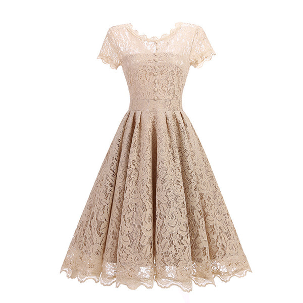 A| Chicloth Women Floral Lace Short Sleeve Vintage Lady Party Swing Bridesmaid Dress-Chicloth
