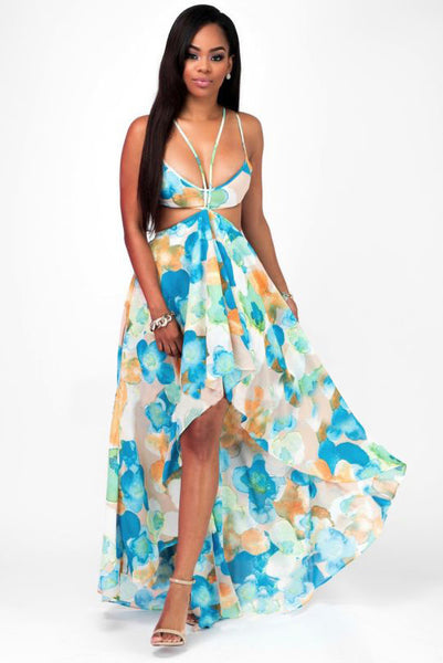 A| Chicloth Floral Printed Summer Beach Dresses - Chicloth