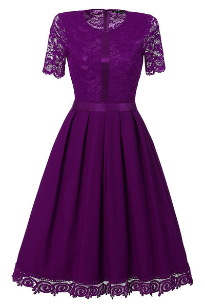 A| Chicloth Purple Short Sleeve Knee-length Vintage Dress-Chicloth