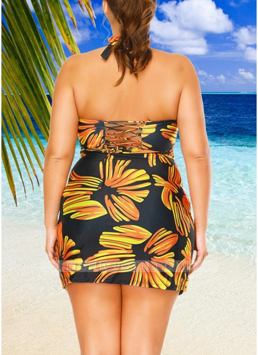 C| Chicloth Women Plus Size Swimwear Dress Halter Swimsuit Backless Push Up Bathing Suit-nylon,polyester,plussizeswimsuit-Chicloth
