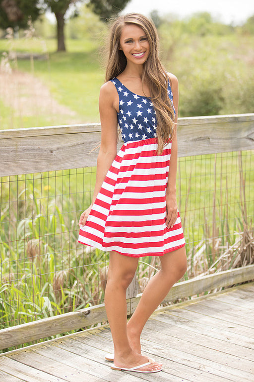 A| Chicloth Country Love American Flag Mini Dress-Fashion Dresses||Maxi Dresses-Chicloth