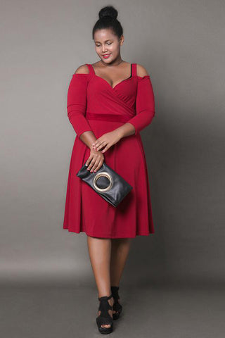 Chicloth Off the Shoulder String Solid Color Plus Size Dress-Plus Size Dress-Chicloth