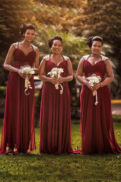 Chicloth A Line Cap Sleeves Floor Length Bridesmaid Dresses