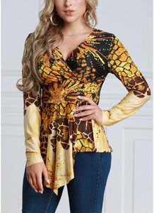 Chicloth Women Contrast Print V-Neck Asymmetric Hem Blouse Top-Plus Size Tops-Chicloth