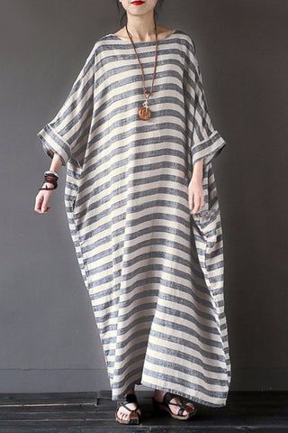 AA| Chicloth New Fashion Women Casual Loose Dress Striped Cotton Long Dress