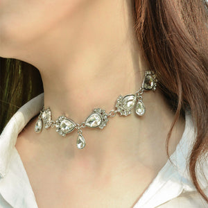 Chicloth Rhinestones and Alloy Water droplets Necklace - Chicloth