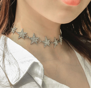Chicloth Rhinestones and Alloy Stars Necklace - Chicloth