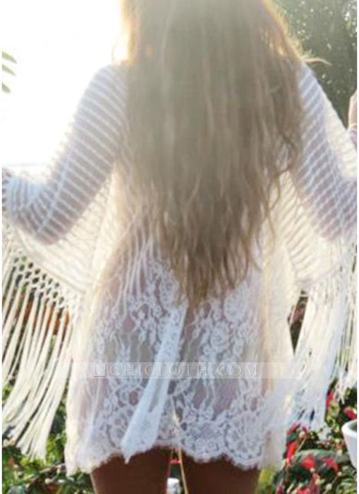 C| Chicloth white one size Sheer Lace Tassel Kaftan Beach Cover Up-chinlon,polyester,coverup-Chicloth