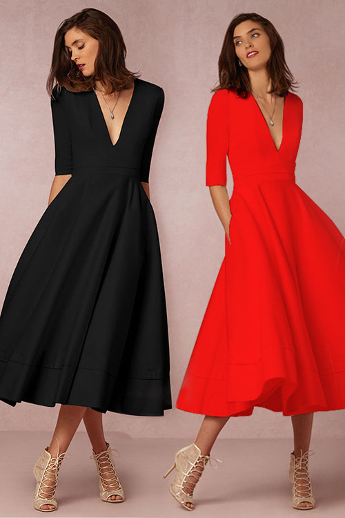 A| Chicloth A-line V Neck Half Sleeve Midi Party Dress(In Stock)-Chicloth