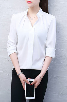 A| Chicloth Solid Cute Polyester V-Neckline Half Sleeve Blouses