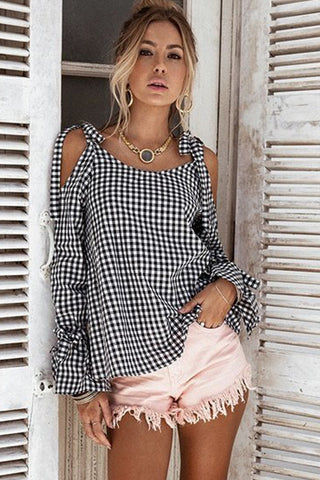B| Chicloth Black and White Grid Cold Shoulder Top-Chicloth
