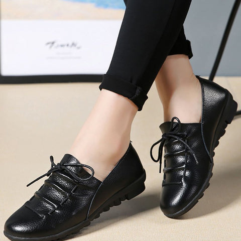 Casual Round Toe Lace-up Flat Heel Loafers