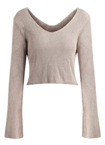 C| Chicloth Women Sexy Off The Shoulder cropped V Neck Flare Sleeve Pullover Knitwear-knits&sweaters-Chicloth