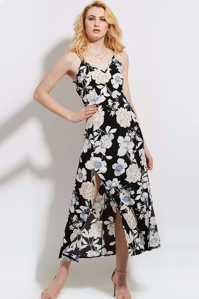 A| Vintacy Print Backless Women's Maxi Dress - Chicloth