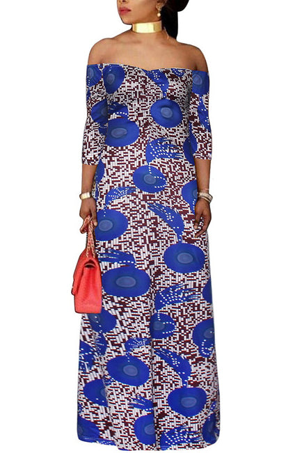 A| Chicloth Plus Size Red Blue Women'S Maxi Dress-plus size dresses-Chicloth