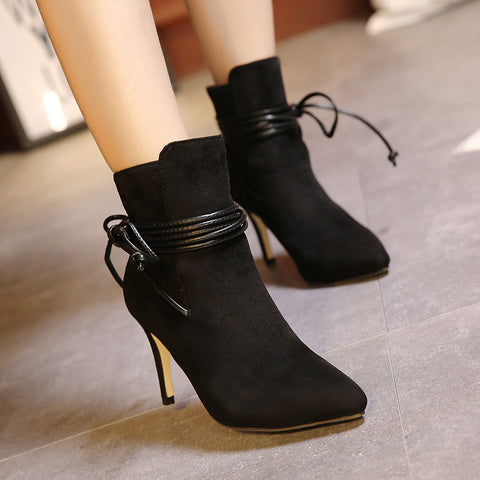 Women's Boots Ankle Boots Stiletto Heel Suede Shoes - Chicloth