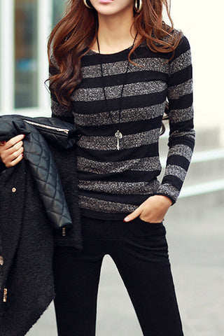 A| Chicloth Knitted Top Fashion Winter Striped Blouses Sweaters