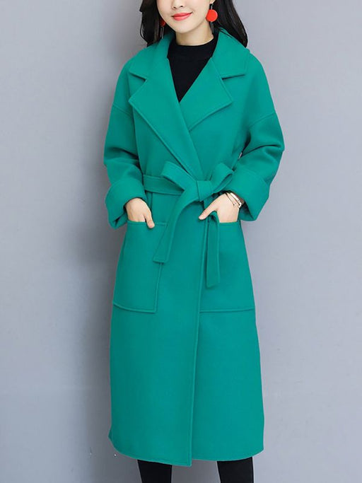 Aqua Shift Pockets Lapel Long Coats & Jackets-Coats & Jackets-Chicloth