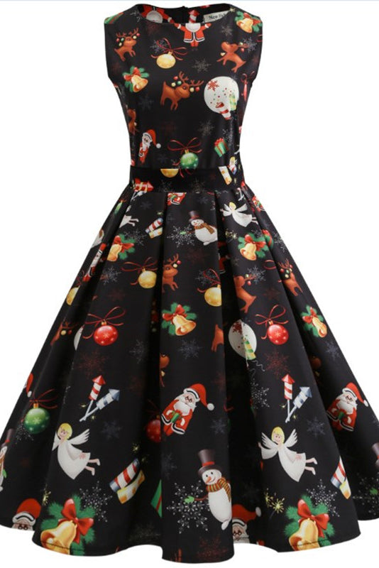 A| Chicloth Christmas Reindeer 50s Swing Dress Christmas Dresses-Christmas Dresses-Chicloth