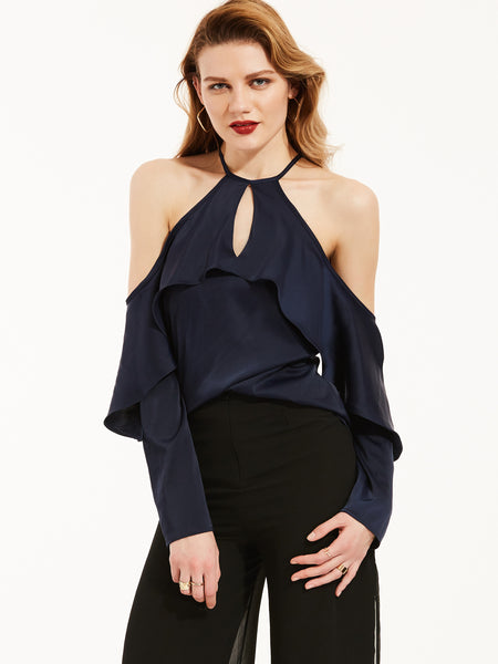 Chicloth Dark Blue Off the Shoulder Lotus Leaf Hanging Neck Blouse-Blouse-Chicloth