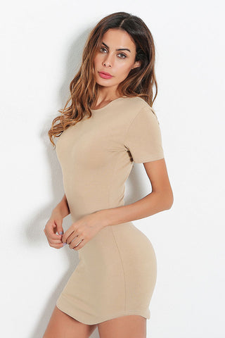 A| Chicloth Multicolor Curved Hem Bodycon Dress - Chicloth