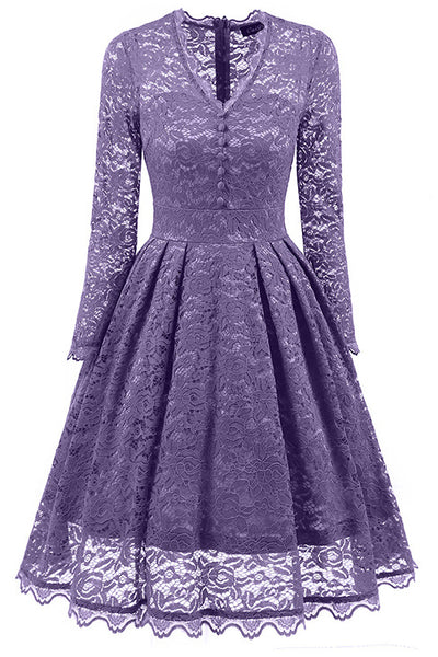 A| Chicloth Gray Long Sleeve V-Neck Homecoming Lace Dress-Chicloth