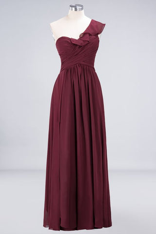 A-Line Chiffon One-Shoulder Sweetheart Sleeveless Floor-Length Bridesmaid Dress with Ruffles