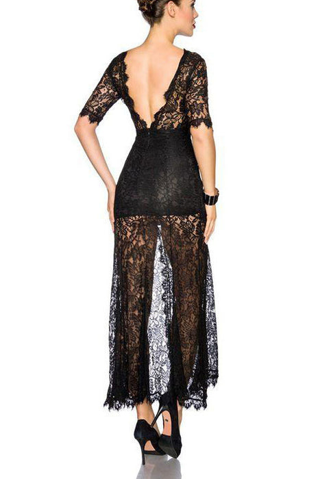 22d27947cef Chicloth Black Backless Sheer Lace Romper Dress-Jumpsuits   Rompers-Chicloth