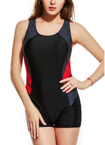 B| Chicloth 2xl Panel Splicing Racing Sports One Piece Swimsuit