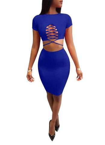 Chicloth Women Two Piece Set Crop Top High Waist Skirt Bandage Ruching Suits-Two-Piece Suits-Chicloth