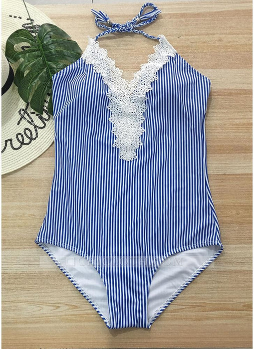 C| Chicloth Halter Striped Lace Backless Wireless Monokini Women One Piece-chinlon,polyester,onepieceswimsuit-Chicloth