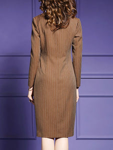 V neck Sheath Daytime Work Long Sleeve Slit Striped Midi Dress