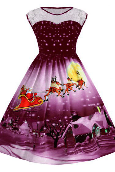 A| Chicloth Christmas Sled Tree Mesh Panel Dress Christmas Dresses-Christmas Dresses-Chicloth