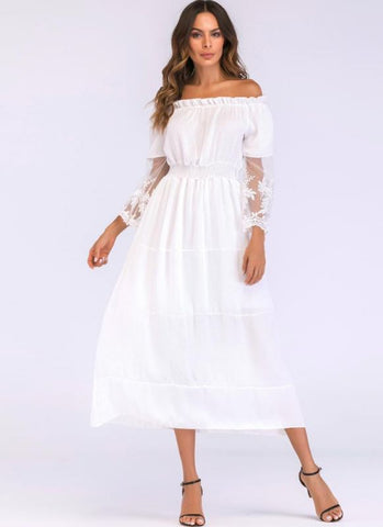 B| Chicloth Sexy Women Maxi Long Dress Off the Shoulder Lace Flare Sleeve Elegant Evening Party Boho Dress-cotton,lace,tealength,offtheshoulder,misses,34lengthsleeves,maxidresses-Chicloth