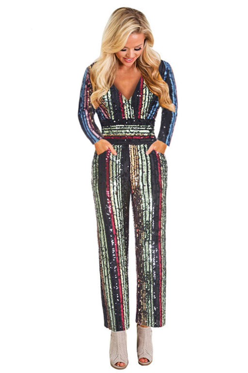 9483b00e4a8e4 Chicloth Sequin Jumpsuit Long Sleeve V-neck High Waist Party Dresses