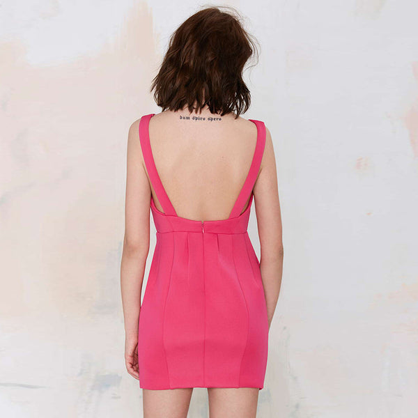 Chicloth Fuchsia Short Backless Dress
