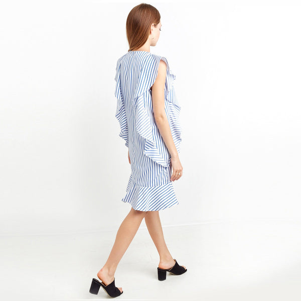 Chicloth Blue Striped Ruffle Mini Dress - Chicloth