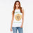 Chicloth Letter flower print sleeveless Scoop neck casual female T-shirt-Chicloth