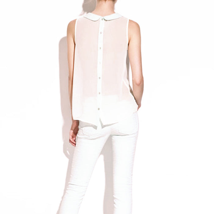 Chicloth Retro Back Button See-through Vest-Chicloth