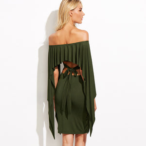 Chicloth Off the shoulder Green Bodycon Dress
