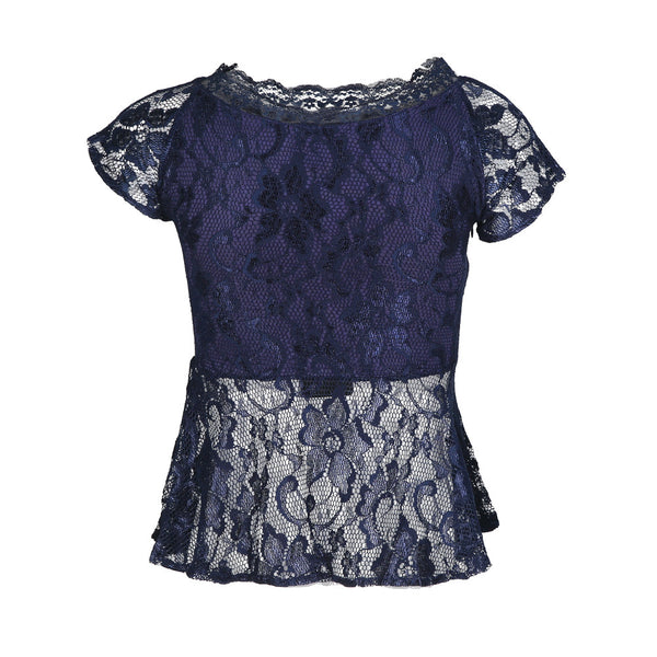 Chicloth Beautiful lace lotus leaf  short sleeve shirt