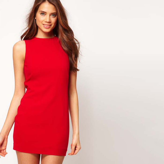 Chicloth Red Open Back Mini Dress-Chicloth