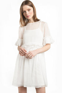 Chicloth Middle Sleeve White Dress - Chicloth
