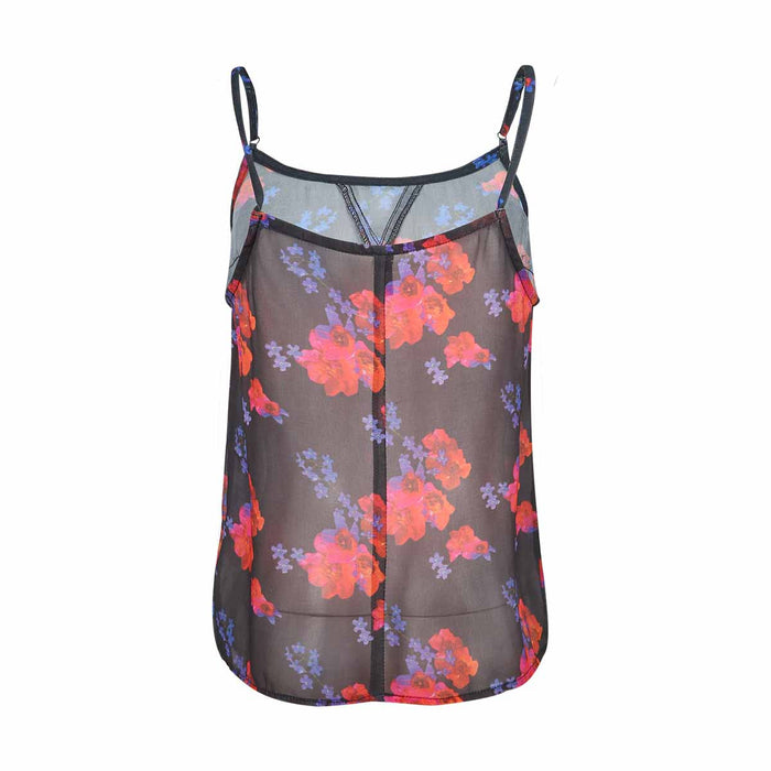 Chicloth Brilliant flower printed with black transparent chiffon sling female vest-Chicloth